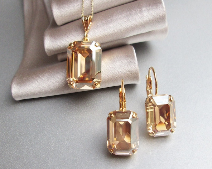 Champagne Swarovski crystal jewelry set, Bridal crystal earrings necklace set, Beige Bridesmaids jewelry set in gold, silver, rose gold