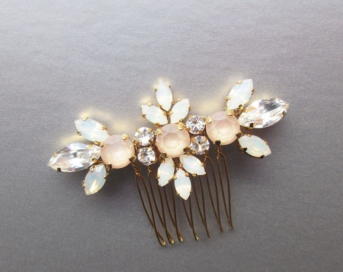 Pastel Champagne Opal Swarovski hair comb, Bridal crystal comb, Ivory comb, Opal Bridal comb in gold, silver, rose gold, Small hair comb