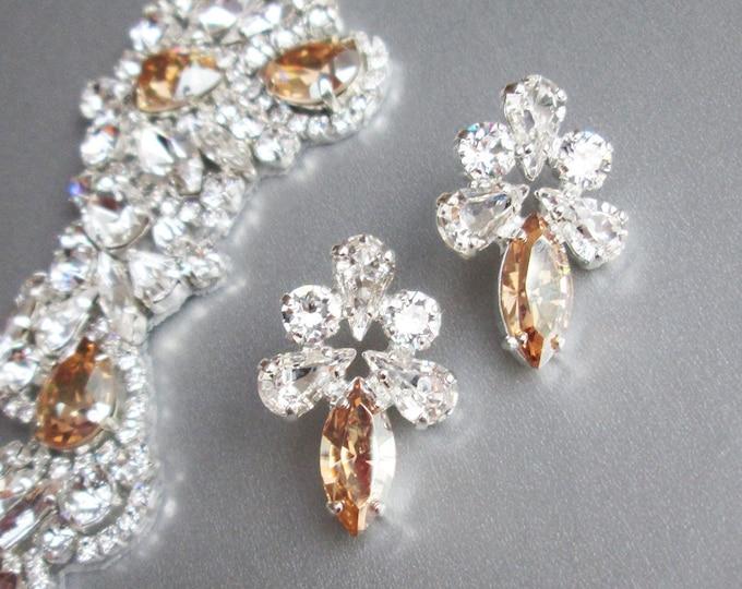 Champagne Swarovski Bridal crystal studs, Swarovski earrings, Stud rhinestone earrings in gold, silver, rose gold, Wedding earrings in honey