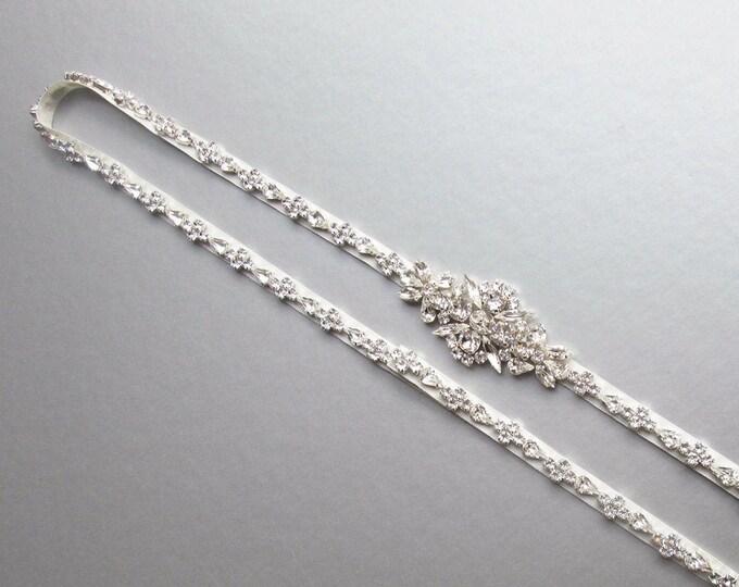 Fitted bridal belt sash, Satin Wedding belt with clasp, Swarovski wedding belt, Full length Bridal rhinestone belt in gold, silver rose gold