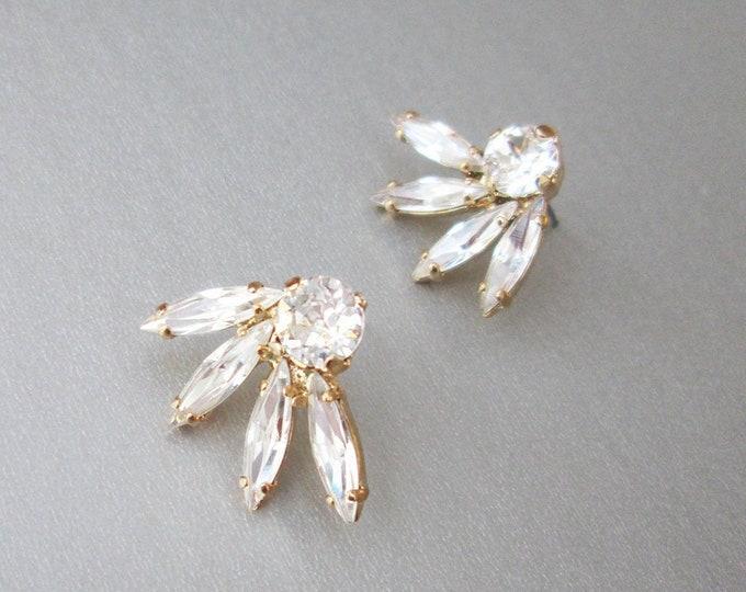 Swarovski crystal spray studs, Post crystal earrings, Swarovski bridal earrings, Stud rhinestone earrings, gold, silver, rose gold, Wedding