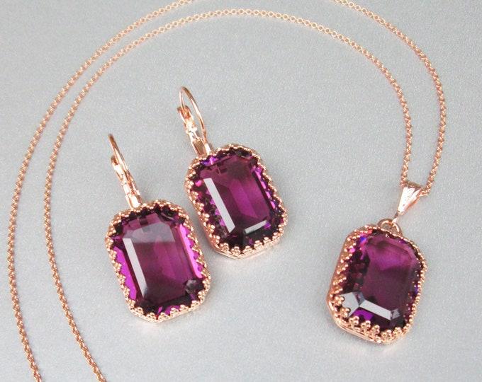 Amethyst Swarovski crystal jewelry set, Purple plum jewelry earrings necklace set, Bridal Bridesmaids jewelry gold, silver, rose gold