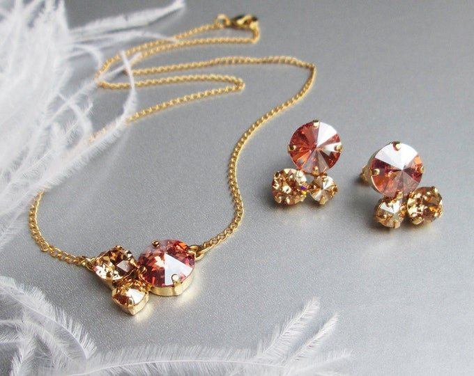 Cognac and Champagne jewelry set, Bridal wedding jewelry, Bridal party earrings and necklace pendant set in gold, silver, rose gold