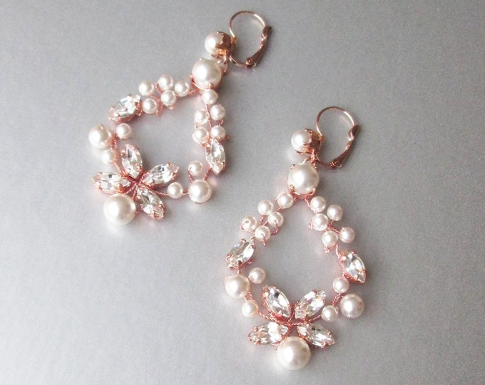 Rose gold Bridal crystal and pearl earrings, Swarovski crystal pearl bridal earrings, Wedding rhinestone earrings in gold, silver, rose gold