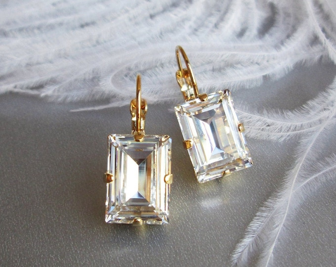 Step cut Swarovski crystal bridal earrings, Swarovski drop earrings, Rhinestone earrings in gold, silver, rose gold, Wedding earrings