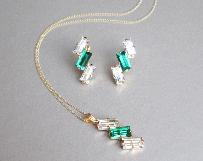 Emerald Swarovski crystal jewelry set, Bridal earrings necklace set, Swarovski Green Bridesmaids jewelry set in gold, silver, rose gold