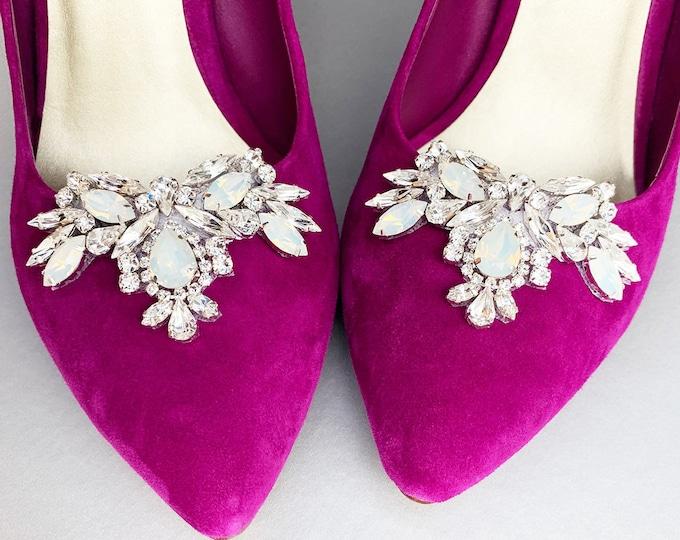 Opal Shoe clips, Swarovski crystal bridal shoe clips, Shoe decorations,Shoes jewelry rhinestone clips,Crystal Jewelry for Shoes,Gift for Her