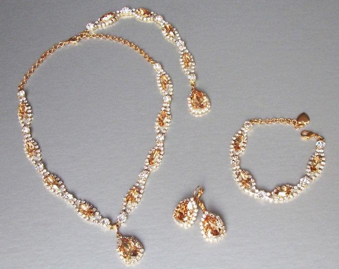 Backdrop champagne Bridal Swarovski crystal necklace, Lariat Bridal necklace, Swarovski crystal necklace, Sparkly rhinestone party necklace