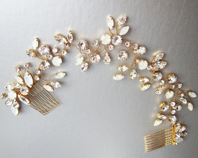 Swarovski opal crystal bridal hair vine, Bridal headband, Wedding hair comb in rose gold, gold, silver, Opal bridal rhinestone headpiece