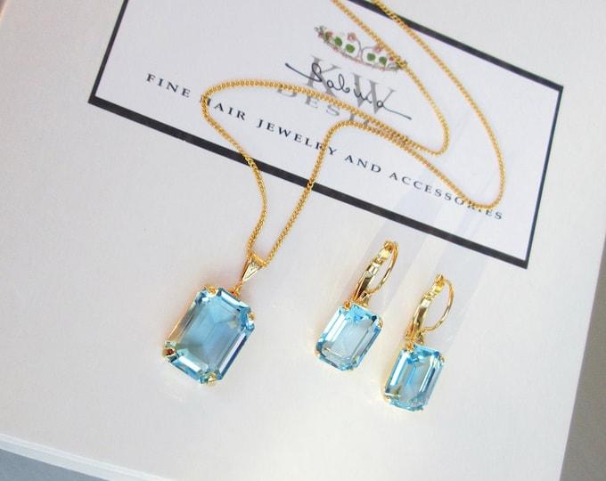 Aquamarine Swarovski crystal jewelry set, Light blue jewelry earrings necklace set, Bridal Bridesmaids jewelry, Something blue, octagon set