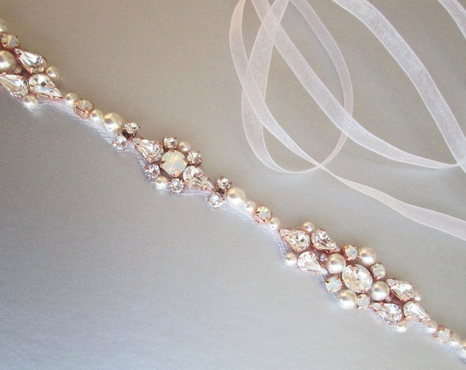 Rose gold Opal bridal belt, Swarovski crystal sash, Beaded rhinestone crystal and pearl waist sash, Wedding belt in gold, silver, rose gold