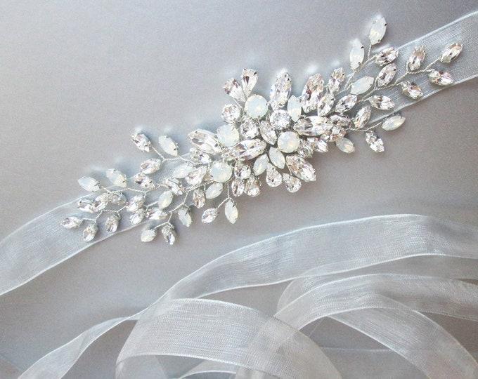 Organza bridal Swarovski belt, Crystal belt sash in gold, silver, rose gold, Wedding belt, Waist sash, Opal bridal belt, Opal crystal belt