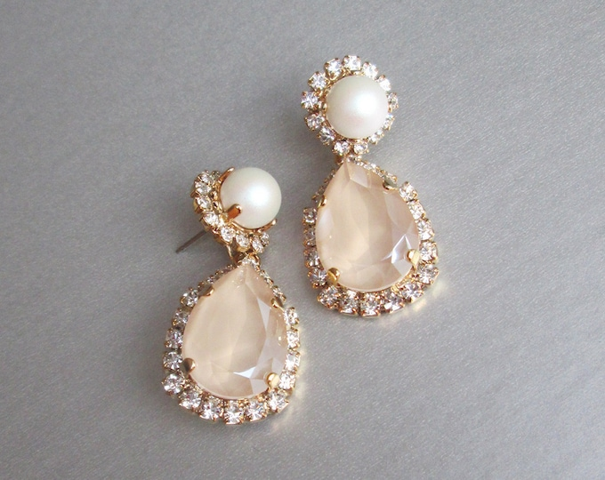 Pastel Ivory cream Bridal crystal earrings, Swarovski crystal and pearl earrings, Teardrop dangling earrings, Champagne wedding earrings