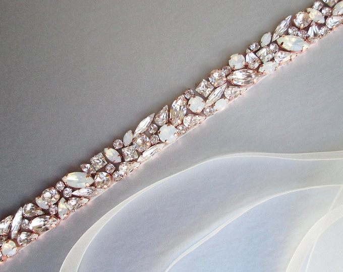 Rose gold Opal bridal belt, Swarovski crystal sash, Beaded rhinestone crystal opal waist sash, Wedding belt in gold, silver, rose gold