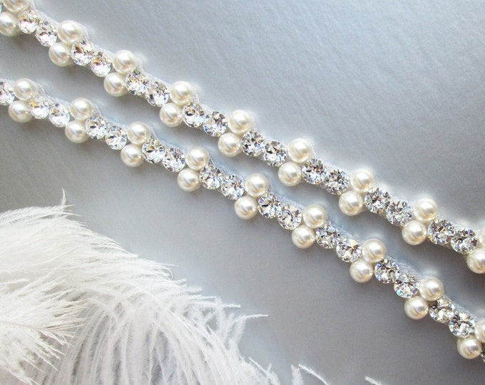 Fitted Swarovski crystal and pearl bridal clasped belt, Wedding belt sash, Thin Rhinestone pearl belt with clasp in gold, silver, rose gold