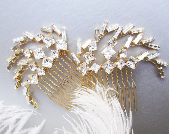 Celebration - Swarovski crystal bridal hair combs, Spark Spray Wedding hair comb set, Party combs, Feather crystal combs in gold or silver