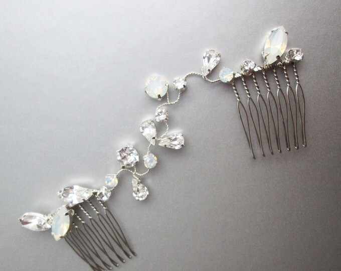 Opal and clear Swarovski crystal hair vine, Dainty crystal hair vine in gold, silver and rose gold, Bridal crystal comb vine with white opal