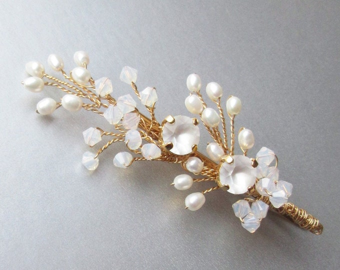 Opal Bridal hair pin, Swarovski crystal bobby pin, Wedding crystal bobby pin, Leaf branch freshwater pearl bobby pin hair clip, gold, silver