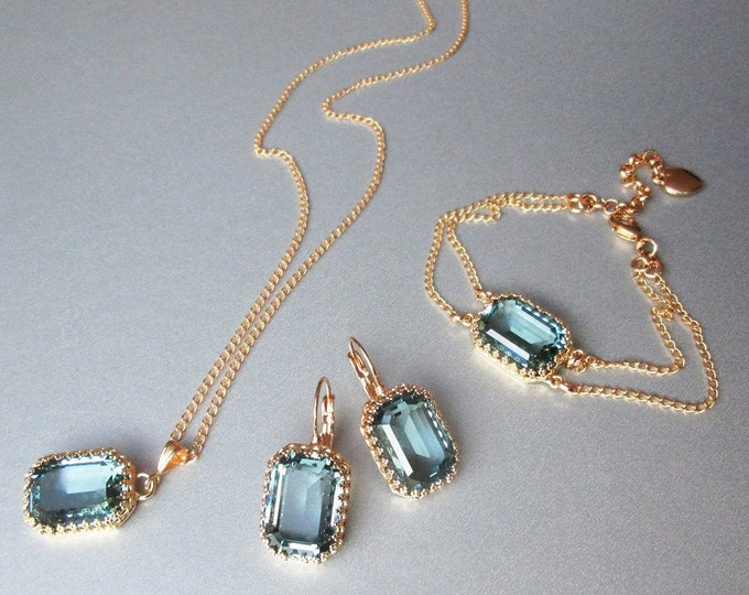 Indian Sapphire Swarovski crystal jewelry set, Teal blue jewelry, bracelet, necklace set, Bridal Bridesmaids jewelry gold, silver, rose gold