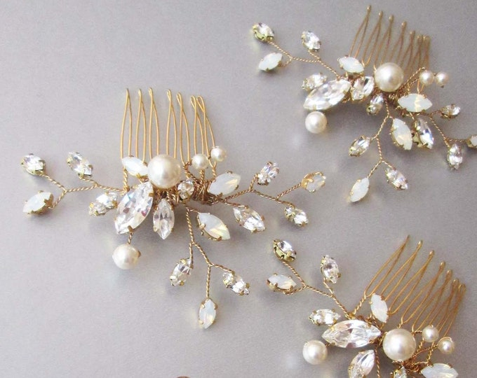 Opal crystal and pearl Swarovski hair comb, Bridal crystal comb, Opal pearl comb, Delicate Wedding comb, Bridal comb gold, silver, rose gold