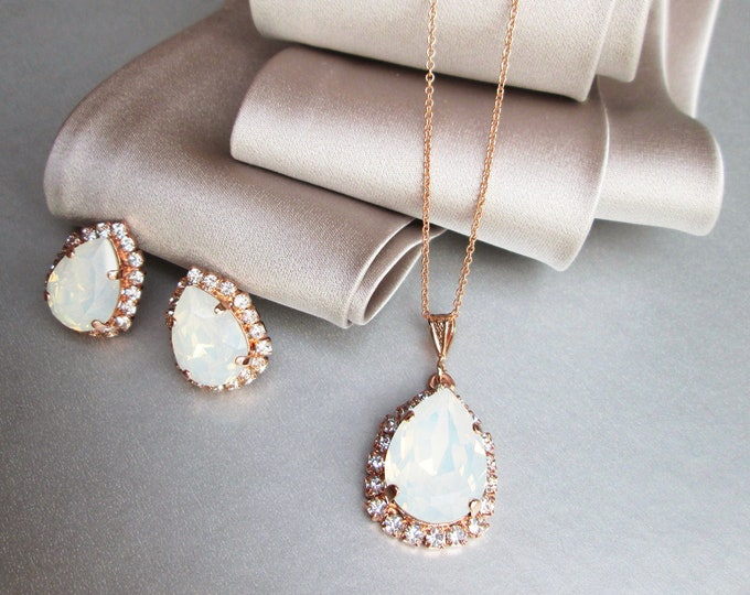 White opal Swarovski crystal jewelry set, Bridal crystal earrings necklace set, Swarovski opal Bridesmaids jewelry in gold silver rose gold