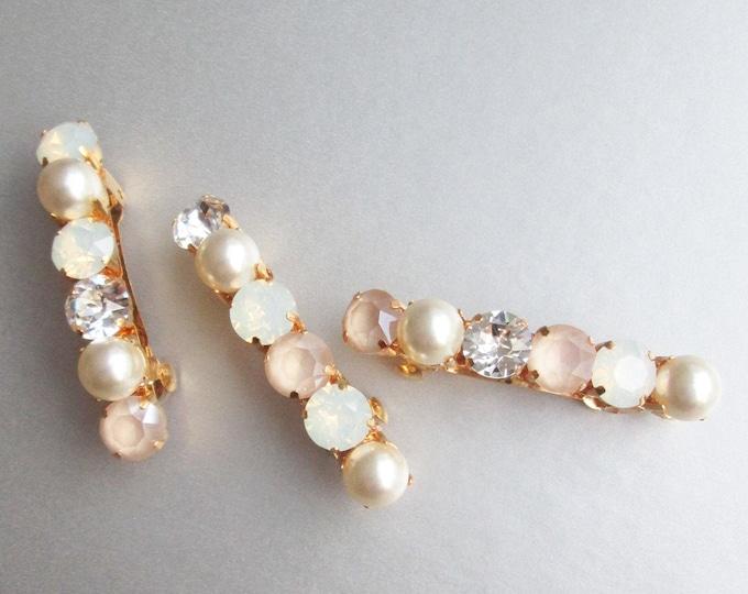 Pastel ivory cream opal Swarovski barrettes, Swarovski crystal hair clip, Wedding crystal clip, Rhinestone pearl wedding hair clip barrette
