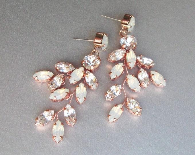 Rose gold Opal Bridal crystal earrings, Wedding Swarovski opal earrings, Leaf branch drop earrings, Chandelier earrings dangling