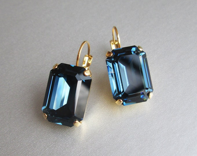 Navy blue Swarovski crystal emerald cut earrings, Montana Swarovski drop earrings, Bridesmaids drop earrings in gold, silver, rose gold