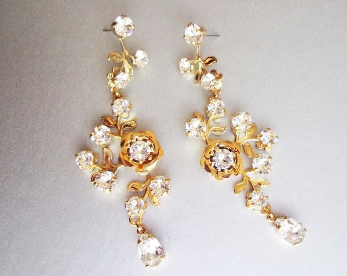 Bridal Swarovski earrings, Vintage style crystal earrings, Rhinestone earrings, Wedding floral long earrings in gold, silver, rose gold