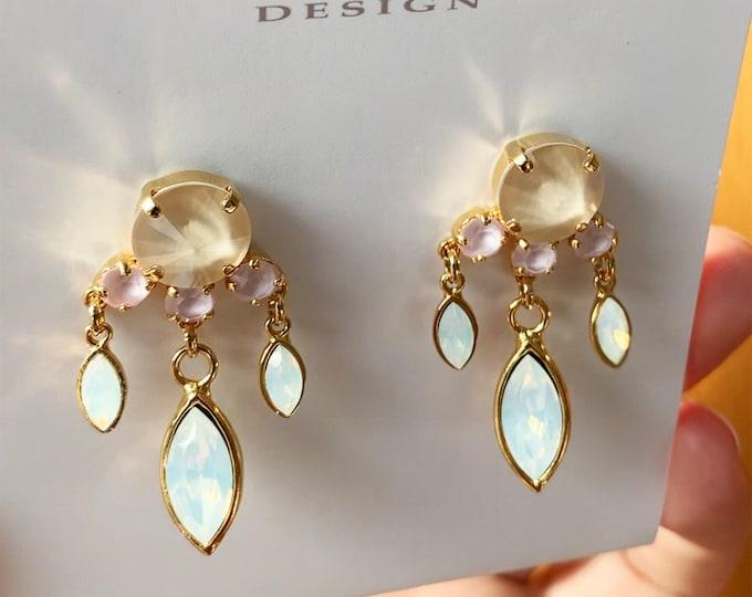 Opal bridal crystal earrings, Swarovski crystal bridal party earrings, Opal cream pink dangling Swarovski earrings gold, silver, rose gold