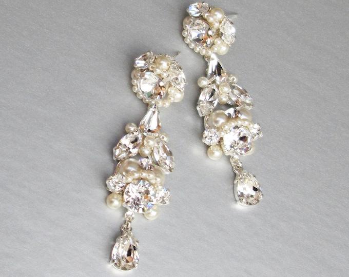 Bridal crystal and pearl earrings, Swarovski crystal earrings, Vintage style chandelier earrings in gold or silver, Drop earrings Dangling
