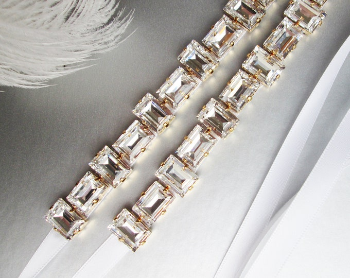 Step cut Swarovski crystal bridal belt sash, Bridal crystal sash in gold or silver, Wedding belt in gold or silver, Thin Swarovski belt