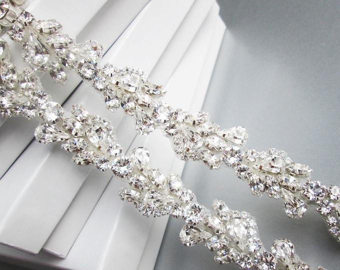 Swarovski Bridal belt sash, Skinny bridal belt, Wedding belt, Crystal belt, Rhinestone bridal belt, Bridal belt in gold, silver, rose gold