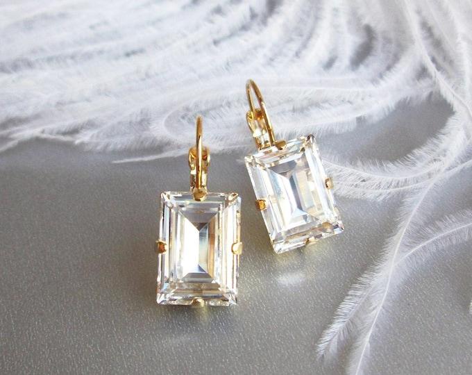 Step cut Swarovski crystal bridal earrings, Swarovski drop earrings, Rhinestone earrings in gold, silver, rose gold, Wedding earrings
