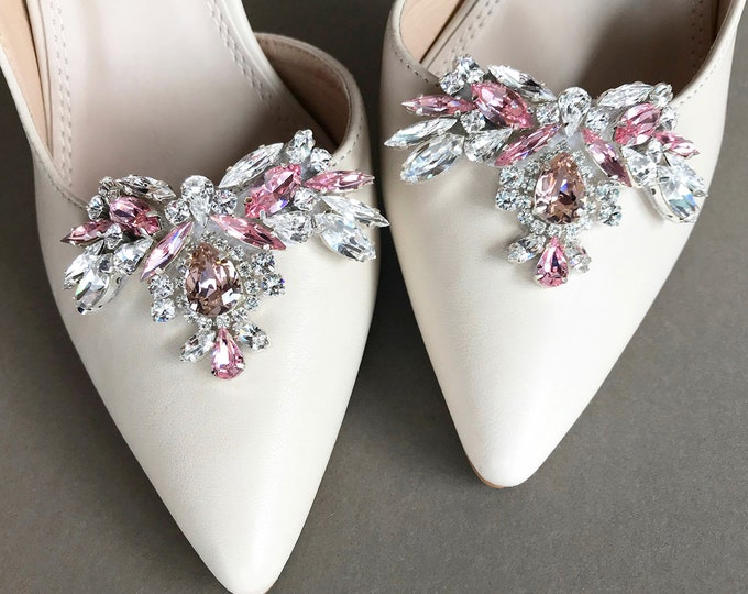 Blush Pink Shoe clips, Bridal shoe clips, Swarovski crystal shoe clips, Shoe embellishments jewelry, Rhinestone party shoe clip on appliques