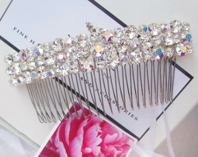 Bridal comb with AB and clear crystal, Swarovski crystal hair comb, Bridal crystal hair comb, Swarovski hair comb, Sparkly bridal headpiece