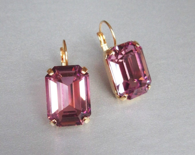 Light Amethyst Swarovski crystal bridal earrings, Emerald cut Swarovski drop earrings, Rhinestone earrings, Wedding earrings pink purple