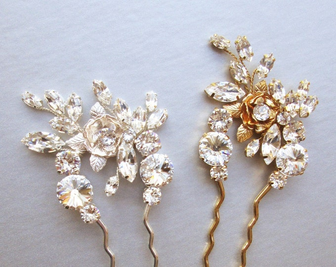 Swarovski hair pin stick, Bridal crystal hair pin, Swarovski hair pin, Flower wedding hair pin, Bridal hair comb in gold, silver, rose gold