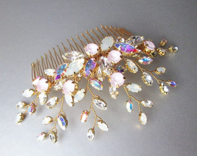 Iridescent Swarovski crystal hair comb, Bridal crystal hair comb, Rhinestone bridal comb, Crystal AB headpiece, Wedding comb opal, pink
