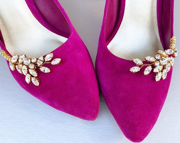 Swarovski Shoe clips, Bridal shoe clips, Swarovski crystal Shoe embellishments, Shoes jewelry rhinestone clips, Party Shoe clips leaf branch