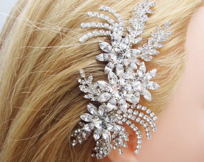 Swarovski crystal hair comb, Bridal crystal hair comb, Rhinestone bridal comb, Sparkly bridal headpiece, Wedding comb, Gatsby Bridal comb