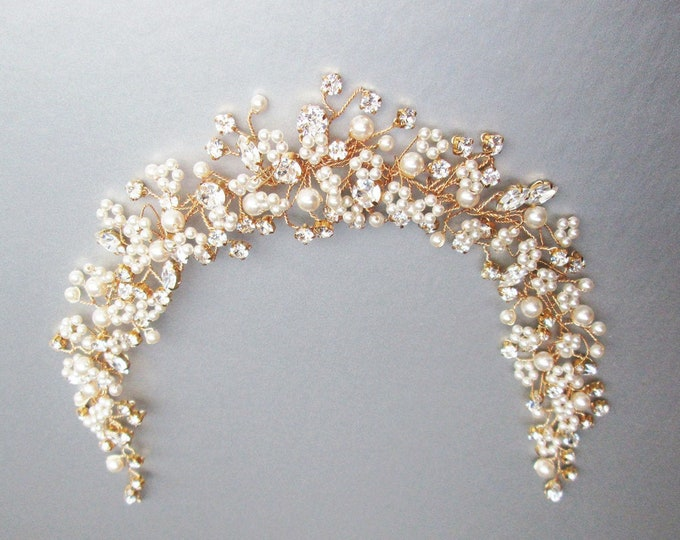 Swarovski crystal and pearl bridal hair vine, Crystal Headband, Bridal headband, Wedding headpiece, Bridal crystal hair vine pearl comb