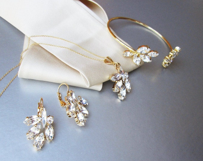 Swarovski jewelry set, Swarovski crystal bracelet, earrings and necklace set, Bridal wedding jewelry set gold, rose gold, silver