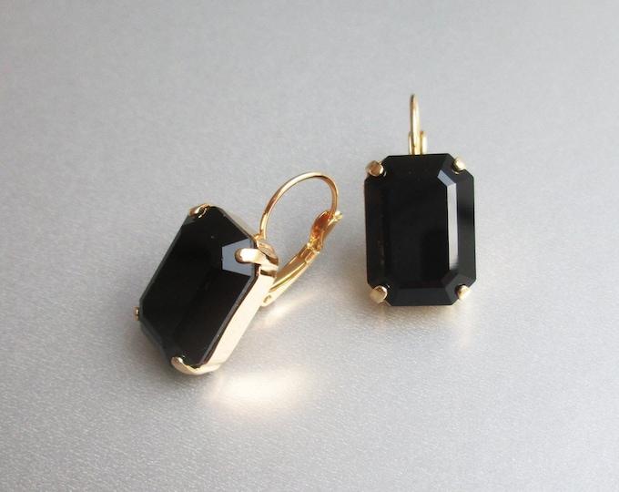 Black drop Swarovski crystal emerald cut earrings, Emerald Swarovski drop earrings, Jet black drop earrings in gold, silver, rose gold