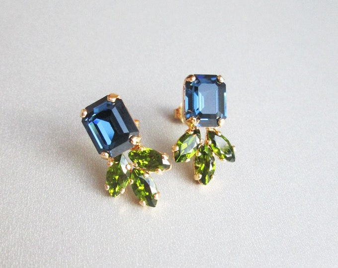 Montana blue sapphire Swarovski crystal studs, Peridot green earrings, Dainty stud earrings in gold, silver, rose, Wedding party bridesmaids