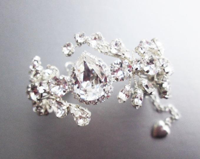 Swarovski crystal bridal bracelet, Swarovski bracelet, Wedding crystal rhinestone bracelet, Cuff bridal bracelet, Gold, rose gold, silver