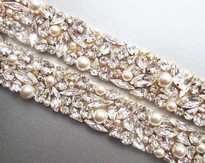 Bridal belt, Swarovski crystal and pearl sash, Beaded rhinestone and pearl crystal waist sash, One inch belt in gold, silver, rose gold