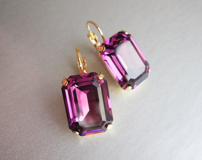 Amethyst Swarovski crystal emerald cut earrings, Purple Swarovski drop earrings, Bridesmaid drop earrings in gold, silver, rose gold