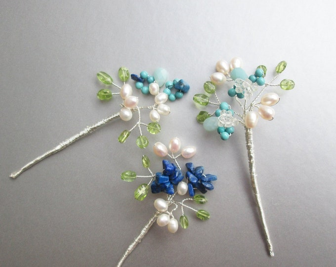 Blossoming gemstone branches hair pins, Bridal blue hair pins, Gemstone pins, Pearl and gem hair pins, Wedding hair pins something blue