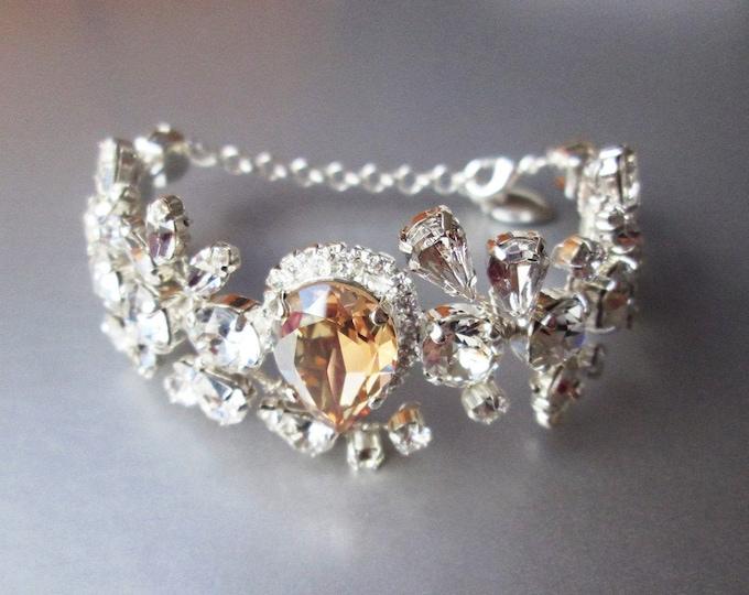 Champagne Swarovski crystal bridal bracelet, Swarovski bracelet, Wedding rhinestone bracelet, Cuff bridal bracelet, Gold, rose gold, silver